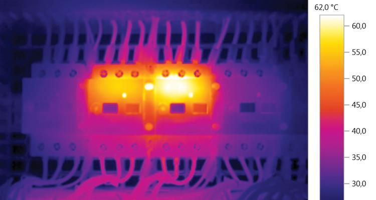 Quadro elétrico examinado por termográfia